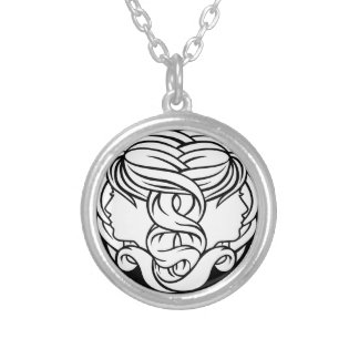 Gemini Twins Zodiac Astrology Sign Silver Plated Necklace