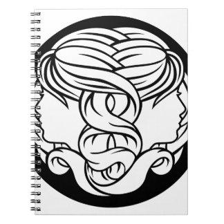 Gemini Twins Zodiac Astrology Sign Spiral Notebook