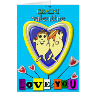 Gemini Valentine/Zodiac Card. Card