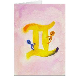 Gemini Yellow Zodiac Symbol Blank Card