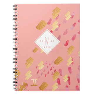 Gemini Zodiac Abstract Pink Rose & Gold Notebook