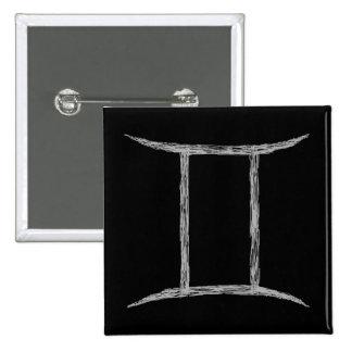 Gemini. Zodiac Astrology Sign. Black. Pinback Buttons