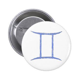 Gemini. Zodiac Astrology Sign. Button