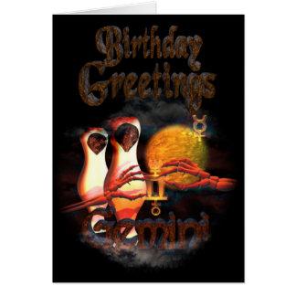 Gemini Zodiac Birthday Greetings by Valxart Card