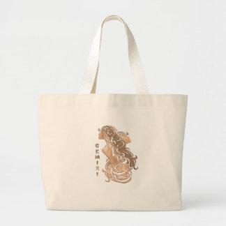 Gemini Zodiac Design Large Tote Bag
