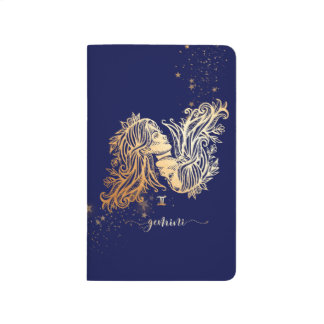 Gemini Zodiac Navy Blue Gold Personalized Journal