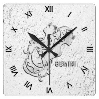 Gemini Zodiac Roman Numerals Wall Clock
