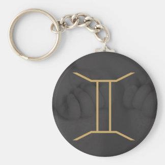 Gemini Zodiac Sign | Custom Background Basic Round Button Keychain