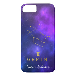 Gemini Zodiac Sign Custom Name IPhone Case