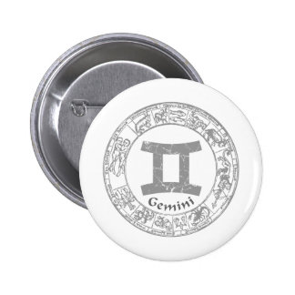 Gemini Zodiac sign vintage 2 Inch Round Button