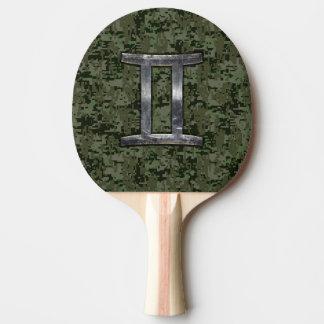 Gemini Zodiac Symbol on Green Digital Camo Ping-Pong Paddle
