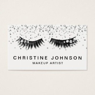 gemstone glam lashes makeup artist business card