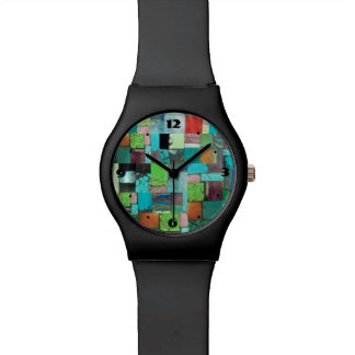 Gemstone Inlay Mosaic Look Multicolor Watch