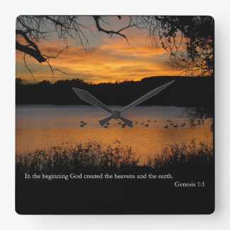 Gen 1:1 In the beginning God created Square Wall Clock