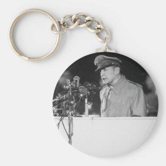 Gen. Douglas MacArthur addressing_War Image Basic Round Button Keychain