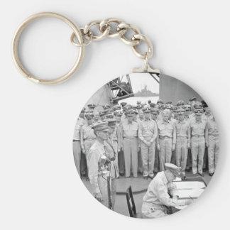 Gen. Douglas MacArthur signs_War Image Basic Round Button Keychain