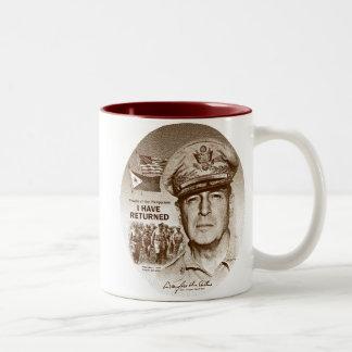 Gen. MacArthur I Have Returned (Brown Print) Two-Tone Coffee Mug