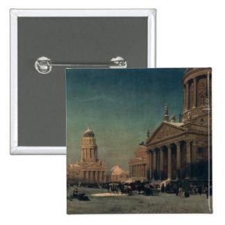 Gendarmenmarkt in Winter, 1857 2 Inch Square Button