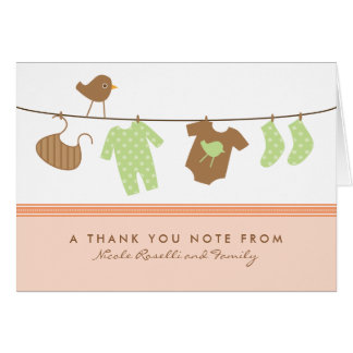 Gender Neutral Baby Laundry Thank You Card (peach)