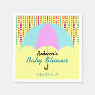 Gender neutral baby shower with umbrella disposable napkins