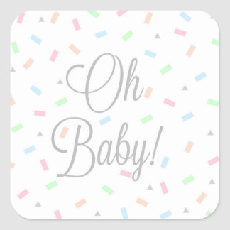 Gender neutral baby stickers, square square sticker