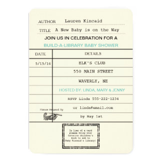 Gender Neutral Baby Vintage Library Card Shower
