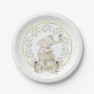 Gender Neutral Elephant Baby Shower Green Beige Paper Plate