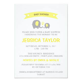 Gender Neutral Elephant Yellow Baby Shower Invite
