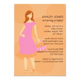 Gender Neutral Mod Mom Baby Girl Shower Card