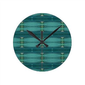 Gender Neutral Shades of Blue Modern Pattern Round Clock