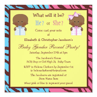 Gender Reveal African American Babies & Gift Boxes 5.25x5.25 Square Paper Invitation Card