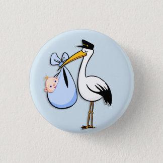 Gender Reveal Baby Boy White Stork Blue Cloth 1 Inch Round Button