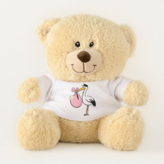 Gender Reveal Baby Girl White Stork Pink Cloth Teddy Bear