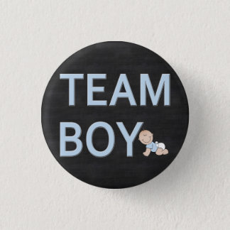 Gender Reveal Baby Party Custom Team Boy 1 Inch Round Button