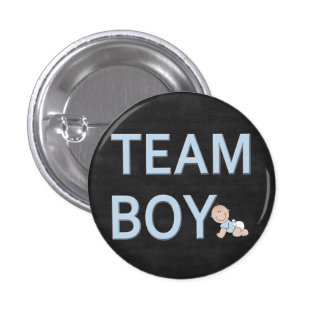 Gender Reveal Baby Party Custom Team Boy 1 Inch Round Button