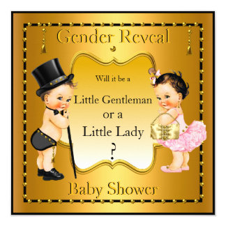 "Gender Reveal Baby Shower Boy Girl Gold Brunette 5.25"" Square Invitation Card"