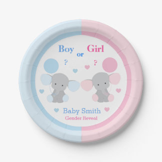 Gender Reveal Baby Shower Elephant Sprinkle Party 7 Inch Paper Plate
