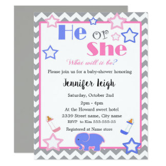 Gender reveal baby shower he or she baby shower card