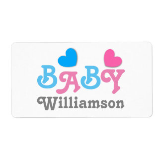 Gender Reveal Baby Shower Hearts Collection A01 Shipping Label