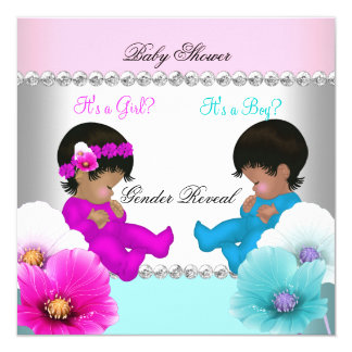 "Gender Reveal Baby Shower Pink Teal Blue Flowers 5.25"" Square Invitation Card"