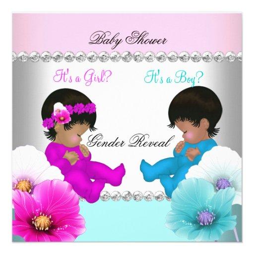Gender Reveal Baby Shower Pink Teal Blue Flowers Custom Invite