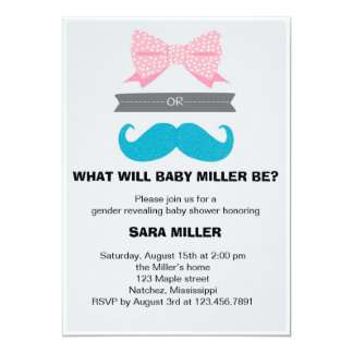 "Gender reveal Bows or Staches Baby Shower 5"" X 7"" Invitation Card"