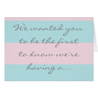 Gender reveal card for baby girl