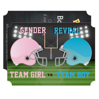 Gender Reveal Fantasy Football League Baby Shower Card