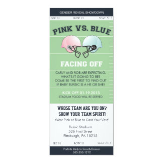 "Gender Reveal Football Ticket Baby Shower Invitati 4"" X 9.25"" Invitation Card"