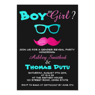Gender Reveal Funny Pink Mustache Teal Glasses 5x7 Paper Invitation Card
