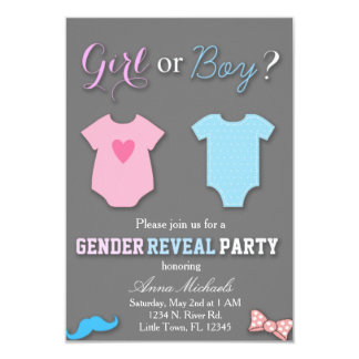 "Gender Reveal Party 3.5"" X 5"" Invitation Card"