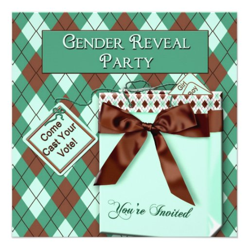 Gender Reveal Party Invitations - Teal/Brown/Gifty Custom Invitations