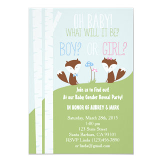 Gender Reveal Party with Little Foxes Card