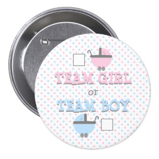 Gender Reveal Pink and Blue Baby Shower 3 Inch Round Button